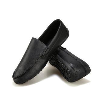 Fashion New Simple Letter Loafers -Black