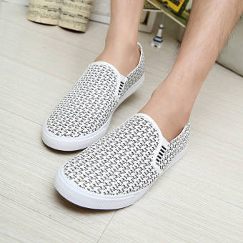 Fashion New Simple Letter Loafers -White - picture 4