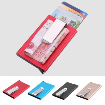 Fashion Portable Business Credit Card Holder Outdoor CardsContainer With Money Clip(Blue) - intl - 3
