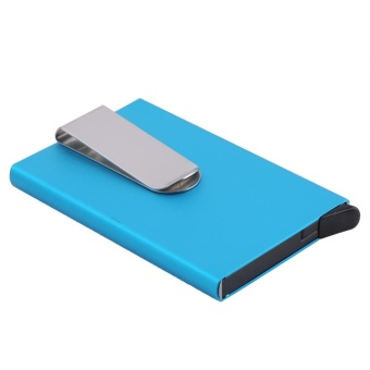 Fashion Portable Business Credit Card Holder Outdoor CardsContainer With Money Clip(Blue) - intl - 2