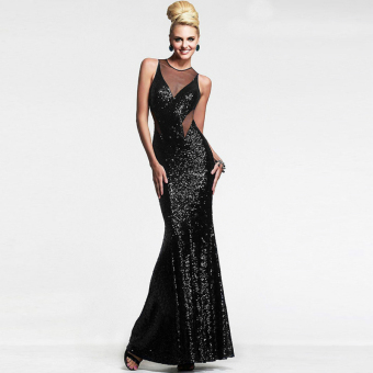 Fashion Sexy Women Dress Female Wedding Casual Dress Party EveningSequined Backless Long Dress Corset Black - intl - 3