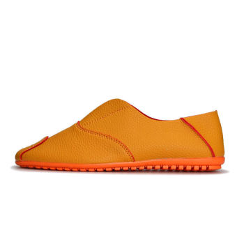 Fashion Simple Leather Men's Loafers – Orange - picture 3