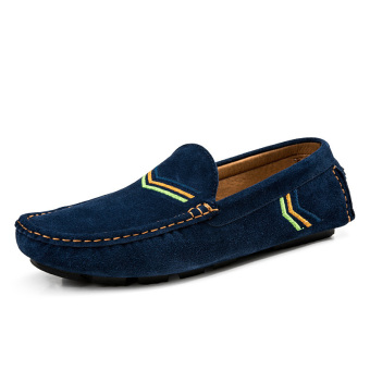 Fashion Simple Men Leather Flat Shoes Dark (Blue) - picture 2