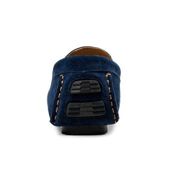Fashion Simple Men Leather Flat Shoes Dark (Blue)