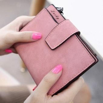 Fashion Small Female Purse short purse Lady Letter Snap Fastener Zipper Short Clutch Wallet Solid Vintage Matte Women Wallet Rose - intl - 4