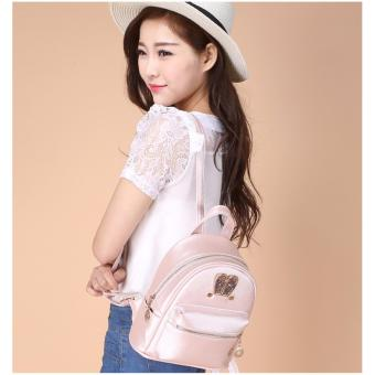 Fashion Small Women Backpacks Small Zipper Pu Leather Student Backpack Preppy Style Backpack Girls Women Back Pack Pink - 3