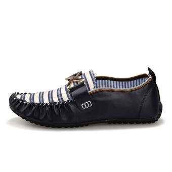 Fashion Stripe Flat Shoes-Black - picture 2