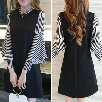 Fashion striped lotus leaf sleeves bottoming shirt New style skirt Price Philippines