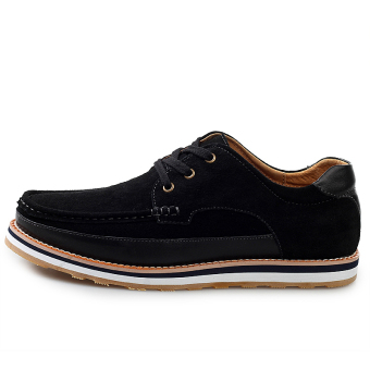 Fashion Suede Lace-Ups Flat Shoes-Black