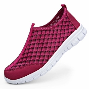 Fashion Summer Casual Women Low Cut Sneakers Shoes - Rose Red