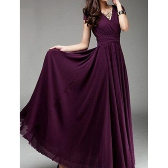Fashion Summer Style V-Neck Short Sleeve Floral Dress For WomenBohemia Long Beach Maxi Dress(Wine Red) - intl - 2