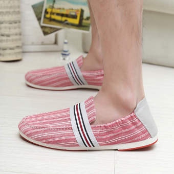 Fashion Washing Spell Color Necking Loafers – Red - picture 2