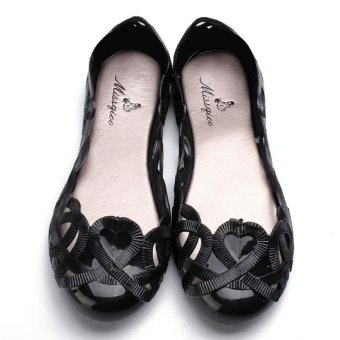 Fashion Women Casual Flats Shoes Crystal Jelly Hollow Slip-on Sandals Flip Flops BLACK - intl - 4