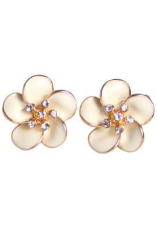 Fashion Women Flower Pattern Inlaid Rhinestones Earrings Ear Studs