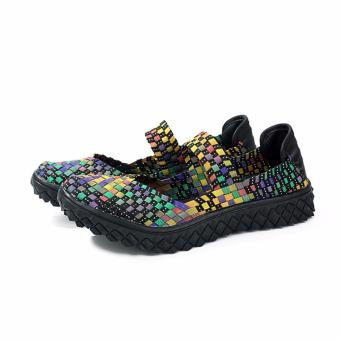 Fashion Women Handmade Woven Flat Shoes Woman Casual BreathableSummer Shoes (Multicolor) - intl - 3