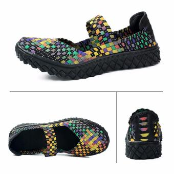 Fashion Women Handmade Woven Flat Shoes Woman Casual BreathableSummer Shoes (Multicolor) - intl - 2