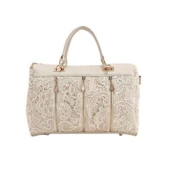 Fashion Women Lace Leather Shoulder Bag White
