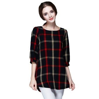 Fashion Women Ladies Blouse Plaid Print O Neck 3/4 Sleeve Plus Size Casual Loose Vintage Shirt Tops Red - intl