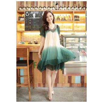 Fashion Women Loose Chiffon Dress Short Sleeve Maternity Dress Soft & Comfortable Pregnant Woman Clothing Dresses Deep Green/Beige - intl - 4