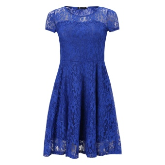 Fashion Women Sexy Floral Lace Short Sleeve Cocktail Evening PartyCasual Short Mini Dress Summer Bule Color - 2