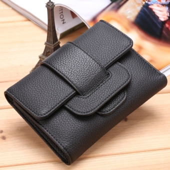 Fashion Women's Solid Trifold Coin Purse Card Holder Wallet(Black)