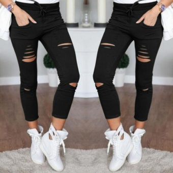 Fashion Women's Casual Skinny Stretch Slim Fit Pencil PantsTrousers Leggings Black - intl