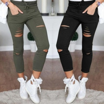 Fashion Women's Casual Skinny Stretch Slim Fit Pencil PantsTrousers Leggings Black - intl - 5