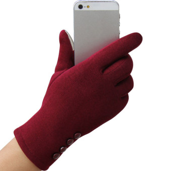 Fashion Womens Touch Screen Winter Outdoor Sport Warm Gloves Red -