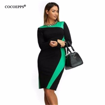 fashionable women dresses big sizes 2017 plus size women clothing 5xl winter dress casual o-neck Patchwork office bodycon Dress - intl