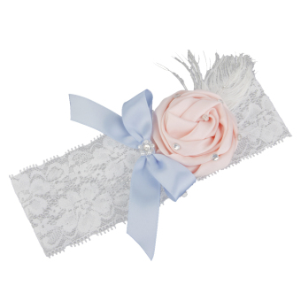 Feather Bowknot Elastic Wedding Garter (White)