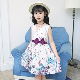 Female big kid New style girls dress (Purple)