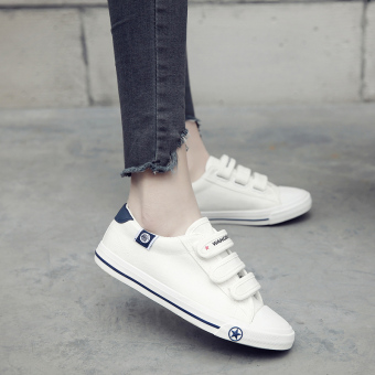 Female flat student shoes white low top canvas shoes (White)
