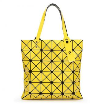 Female Folded Geometric Plaid Bag Madam Fashion Casual Tote TopHandle Bag Distortion Package Shoulder Bag (Yellow) - Intl - intl