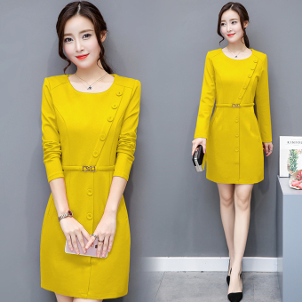Female New style Tibetan meat waist hugging skirt dress (Yellow)