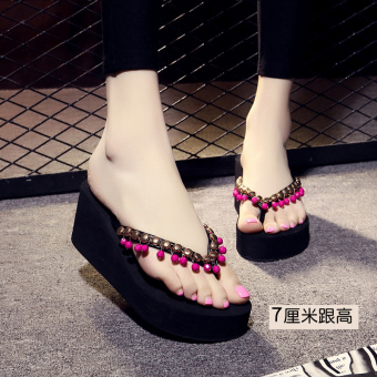 Female non-slip high-heeled beach slippers flip-flops (7 cm black Hong beads)