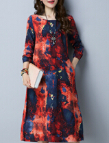 Female round neck Plus-sized Print long dress autumn dress New style dress (Red)