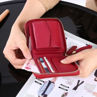 Female Small Coin Card Purse Zipper Short Bifold Mini Wallet(Burgundy) - intl