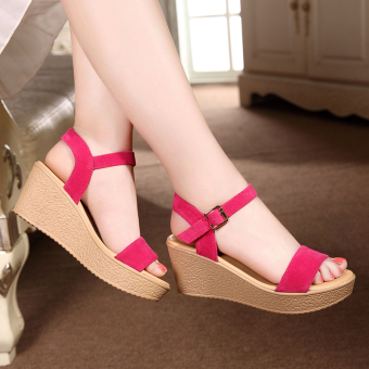 Female waterproof platform muffin thick bottomed sandals (Rose color)