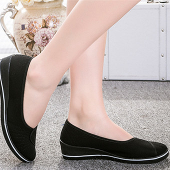Female with slope Comfortable Soft Work shoes Beauty Dance Canvas shoes Black - Intl - 5