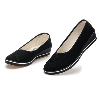 Female with slope Comfortable Soft Work shoes Beauty Dance Canvas shoes Black - Intl - 3