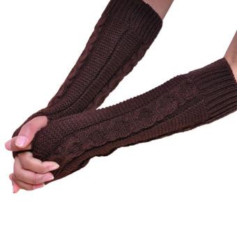 Fingerless Knitted Long Gloves Coffee