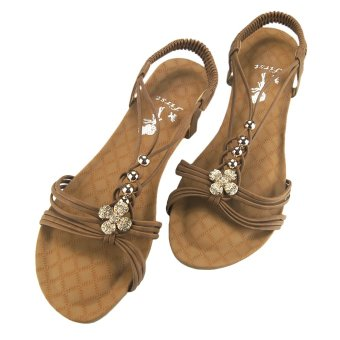 First Wedge Platform Heel Thong Sandals with Clover Design (Brown)