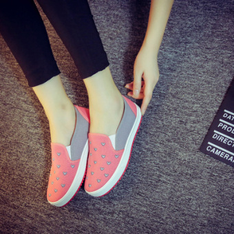 Flats canvas shoes women cloth shoes summer autumn sneakers (Pink color)
