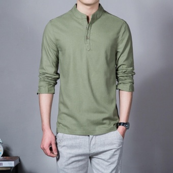 Flax Long Sleeve Shirt Men Chinese Style Retro Stand Collar Linen Shirts(Army green) - intl
