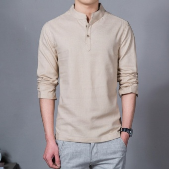Flax Long Sleeve Shirt Men Chinese Style Retro Stand Collar Linen Shirts(Beige) - intl