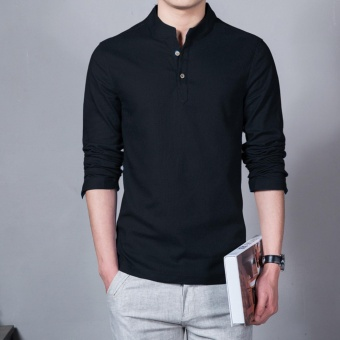 Flax Long Sleeve Shirt Men Chinese Style Retro Stand Collar LinenShirts(Black) - intl