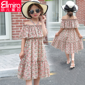 Floral female big kid summer Korean-style skirt chiffon dress