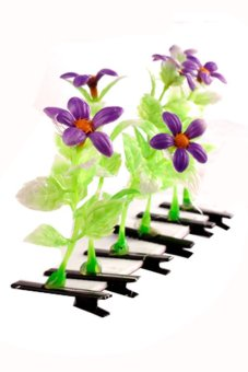 Flower Hair Clip Set of 6 (Violet)