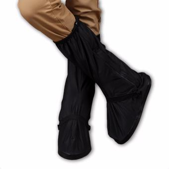 Foldable Waterproof Flood Proof Rain Boot Shoe Cover for Men (black) - 2