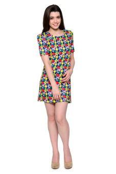 French Dolls Casual Printed with Sleeves Vel Dress (Royal Blue) - picture 2